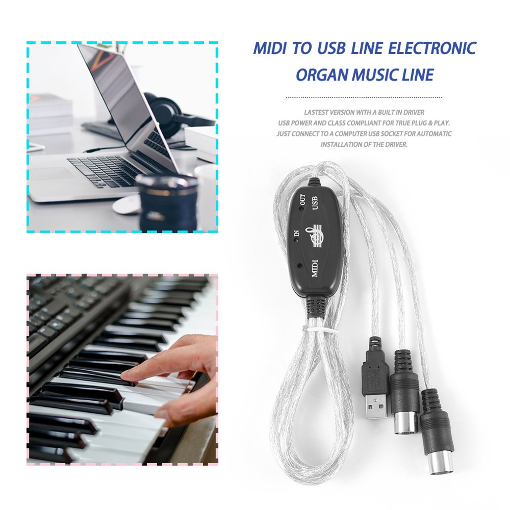 MIDI USB IN-OUT Cavo di Interfaccia Adattatore per la Tastiera Tamburo Musica Elettronica Creare Converter PC to Music Keyboard cavo