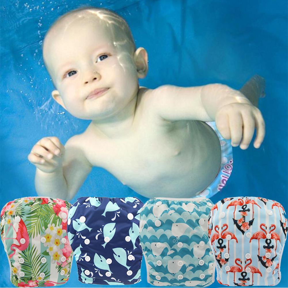 Ohbabyka Baby Swim Diaper Unisex Swimming Pants Flamingo Toddler Swimming Nappies Adjustable Summer Swimwear For Kids Pool Pant