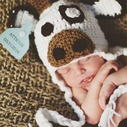 Белый молочный корова младенческой Девочки шляпа пеленки Набор реквизит для фотосъемки трикотажные Новорожденные домой наряды милый детс...