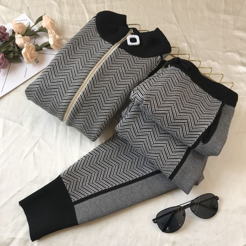Fall Winter New Tracksuit Woman Color Patchwork Turtleneck Zipper Knitted Cardigans+Pants 2PCS Sets Long Sleeve Knit Top Trouser 43