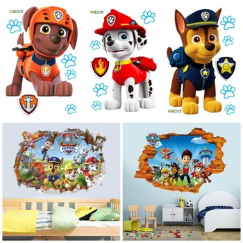 3D Paw Patrol Wall Stickers For Kids Removable Decals Nursery Home Decor Vinyl Mural Boys Girls Bedroom Living Room Mural Art keep calm and dream on quote wall stickers vinyl home decor living room bedroom door decals removable art mural wallpaper 3b05