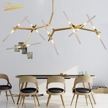 цена Nordic Luxury Iron Glass LED Chandeliers Glod/Black Ceiling Chandelier Lighting Dining Living Room Kitchen Bedroom Hanging Lamp онлайн в 2017 году