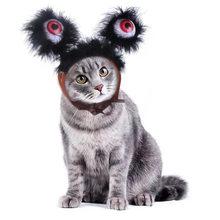 Tocado para mascotas, gorro decorativo luminoso de monstruo de ojos grandes para Halloween y Navidad