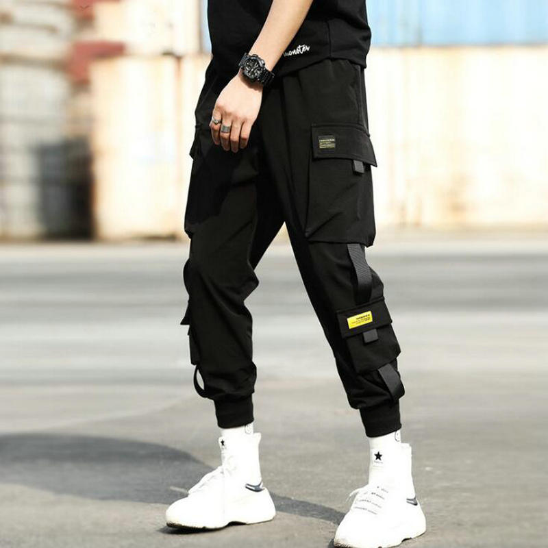 Men Black Joggers Casual Pants 2019 Autumn Ribbons Mens Big Pockets Harem Cargo Pants Male Spring Streetwear Overalls Sweatpants