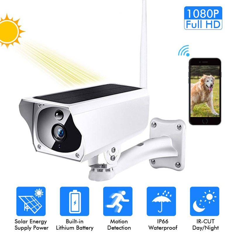 Solar 1080P HD Cctv Surveillance IP Camera WIFI Draadloze Outdoor IP67 Waterdicht Aangedreven Cloud IR P2P Buiten Camera title=