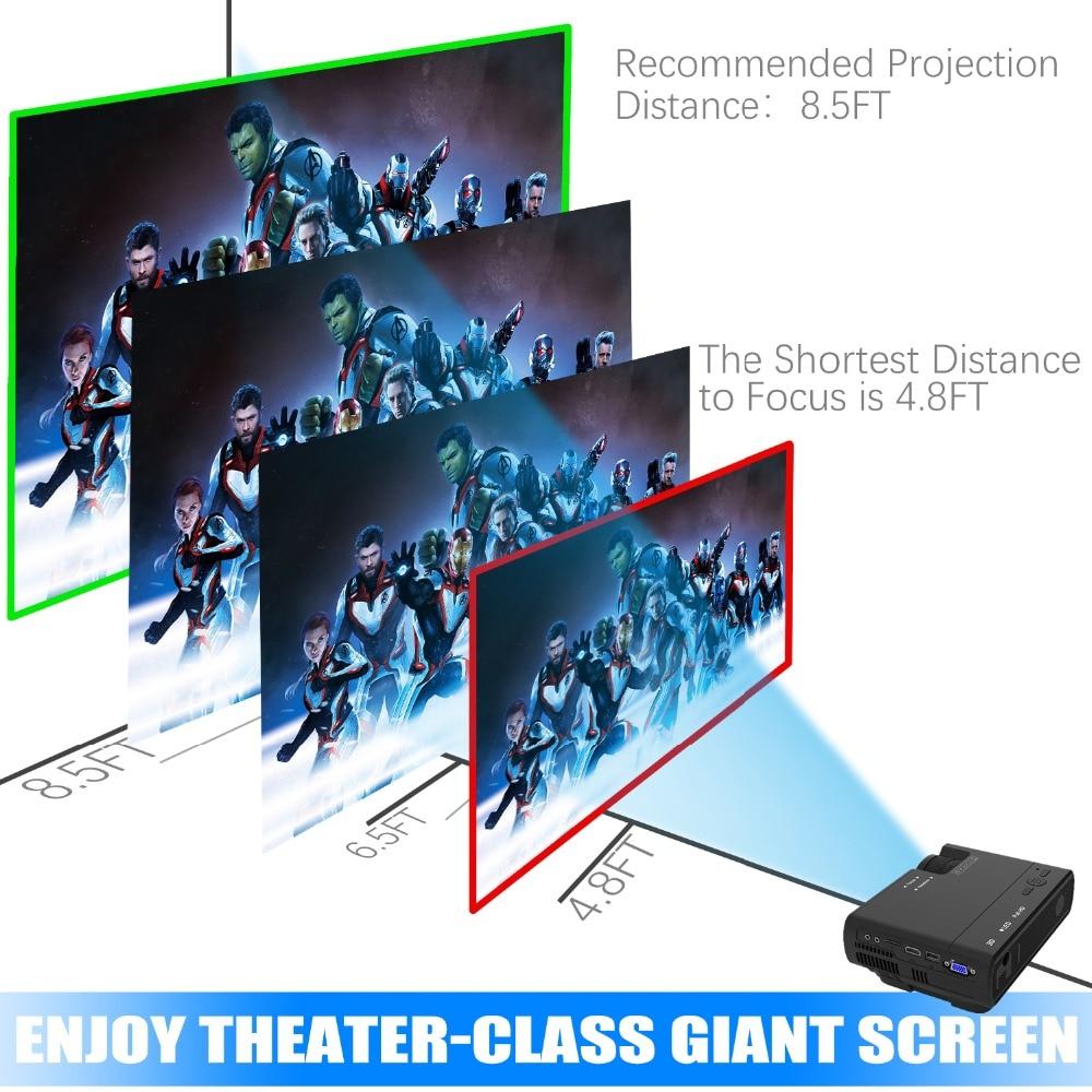 Puissant mini projecteur T5 720P 170 ''LED full hd proyector Home cinéma Compatible avec clé TV, PS4, HDMI, VGA, TF, AV et USB - 4