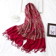 2020 女性の冬のスカーフ高級刺繍カシミヤ女性刺繍ショールラップスカーフソリッドタッセルボヘミアン暖かいecharpe
