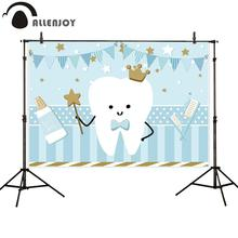 Backdrop Photography Banner Decoration Toothpaste Allenjoy Blue Baby-Boy Flag Stars