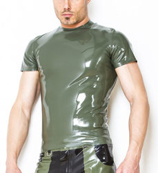 Handmade Latex Rubber Short Sleeves T-Shirt Men's Latex Suit