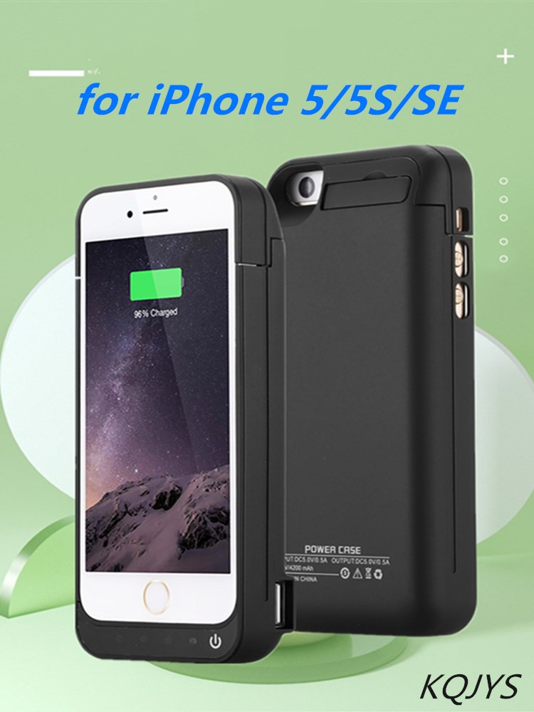 KQJYS 4200mAh External Portable Power Box <font><b>Battery</b></font> Power Pack Charger Cover for <font><b>iPhone</b></font> <font><b>5</b></font> 5S SE <font><b>Battery</b></font> <font><b>Case</b></font> image