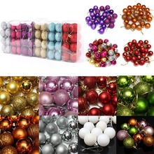 24 Pcs/Set Glitter Chic Christmas Tree Ball Baubles Xmas Party Wedding Hanging Ornament Decoration
