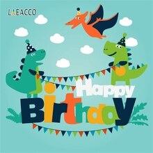 خلفيات تصوير Laeacco لحفلات أعياد ميلاد الأطفال على شكل ديناصور غابة كارتونية خلفيات تصوير مخصصة لاستوديو الصور