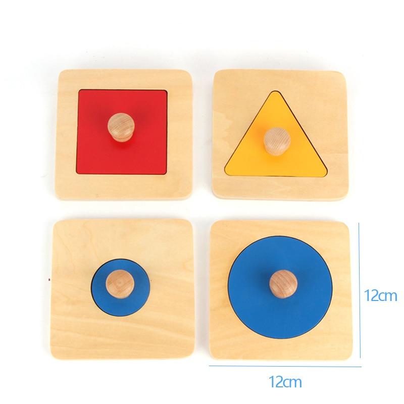 Montessori Sensory Tactile Wood Knob Puzzles Peg Board Geometric Shape Match Color Cognitive Puzzle Board Learning Education Toy 8