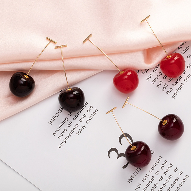 1Pair Cute Simulation Red Cherry Sweet Resin Drop Earring Hot Red Color High Quality For Women.jpg 640x640 - 1Pair Cute Simulation Red Cherry Sweet Resin Drop Earring Hot Red Color High Quality For Women Girl Student Fruit  Xmas Gift