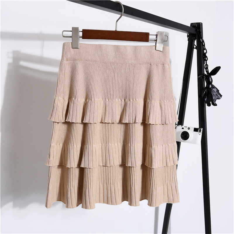 Knitted Cake Skirt Female 2019 Autumn And Winter New Skirt High Waist Pleated Wild Temperament Bag Hip Short Skirts