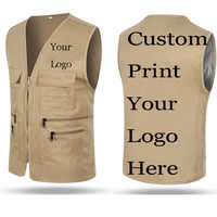 Custom Vest Men Pockets Customize Printing LOGOs Name Advertisement Fishing Poly Male Sleeveless Waistcoat Photographer Jacket