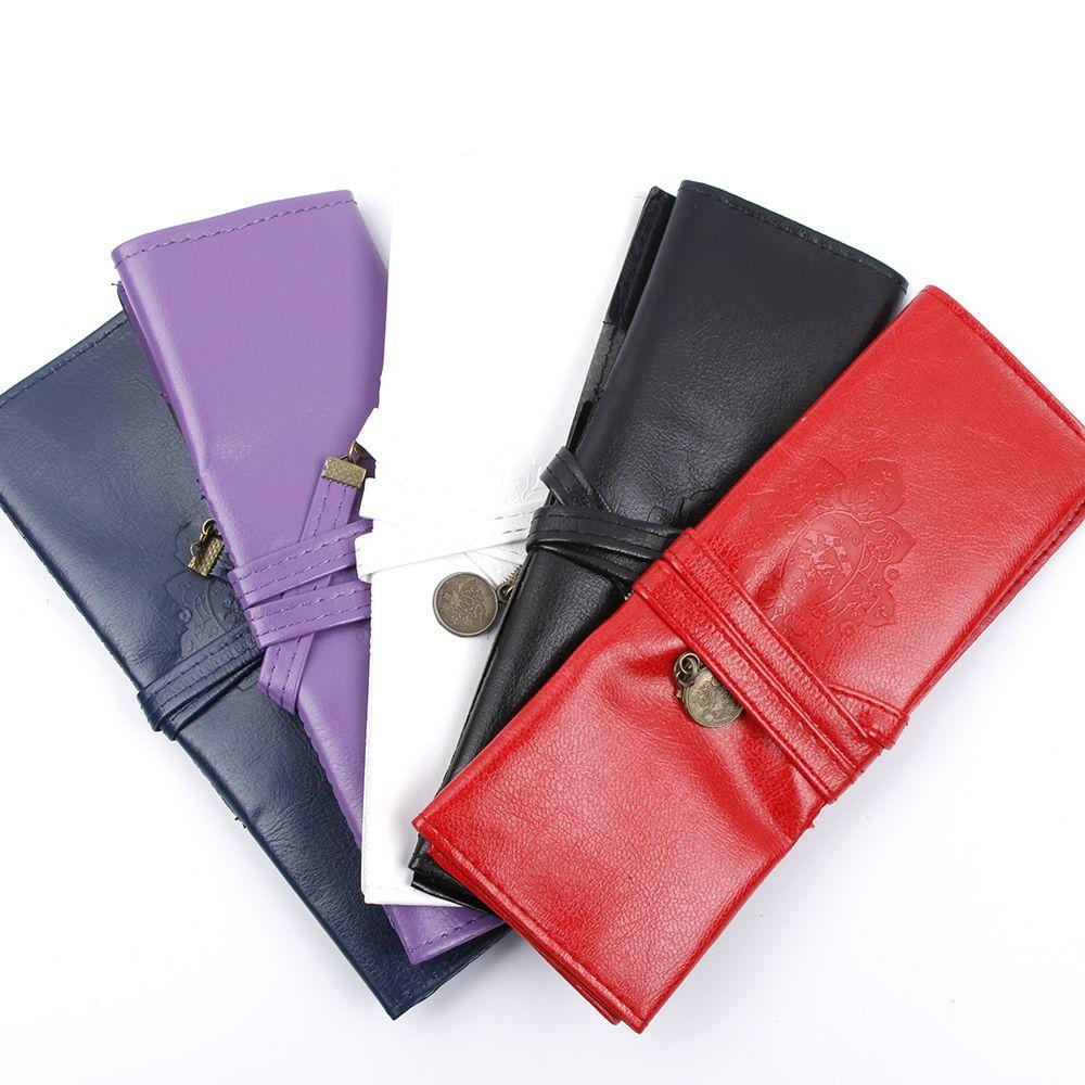 1 PC Pure Pencil Case Bag Women Vintage Makeup Cosmetic Brush Pen Pencil Case Organizer Pouch Holder Bag