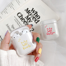 Soft Silicone Cute Air Pods For Apple Airpods Case Luxury Cartoon Crown Couple Transparent in Earphone Accessories