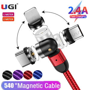 UGI 1M/2M/3M 3in1 Magnetic Cable 2.4A Fast Charging Charger 540° 180° 360° Rotating