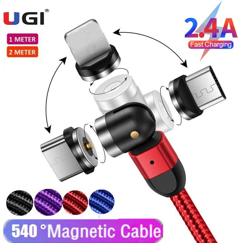 UGI 1 M/2M/3M 3 en 1 Cable magnético 2.4A cargador de carga rápida 540 ° 180 ° 360 ° giratorio Micro USB tipo C USB C para tableta IOS Nylon Cable magnético CANDYEIC para Samsung Galaxy M31 30S M40 M20 cargador magnético para iPhone 12 11 Max Pro 9 8 Cable de carga magnético