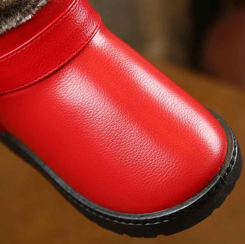 עבה חם ילדי שלג מגפי חורף נעלי בנות עגול הבוהן קטיפה החלקה שטוח תינוק פעוט נעלי סקי בני בנות מגפיים