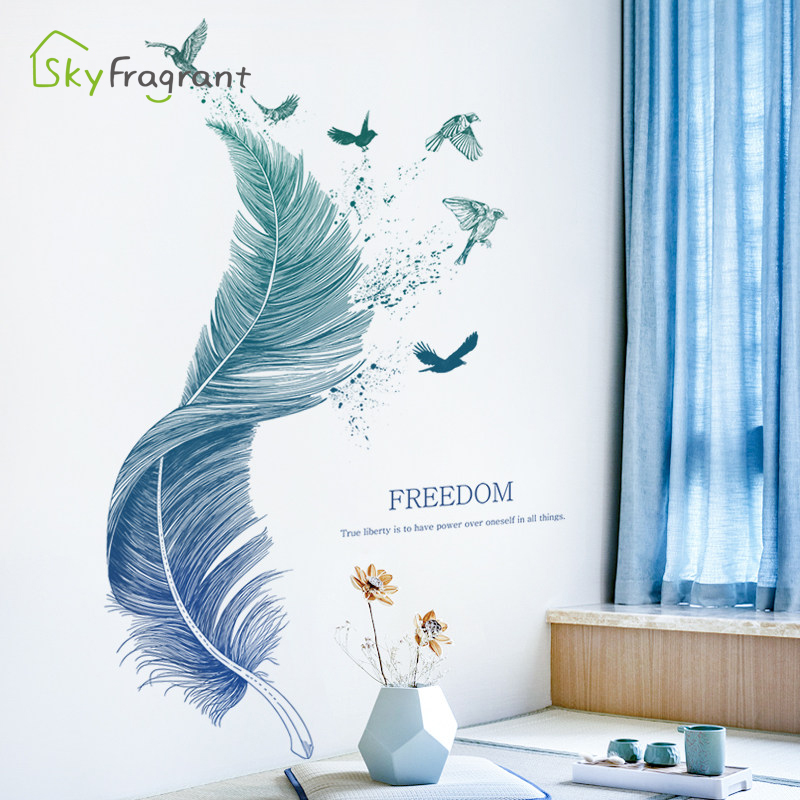 Creative Stickers Blue Feather Wall Sticker Bedroom Decor Sofa Background Self-adhesive Wall Decor Room Decoration For Home