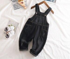 Image 5 - ילדים של ג ינס סרבל 12M כדי 4T ילדים כחול סרבל ג ינס מכנסיים עם חורים שבורים בני בנות ילדים של בגדים