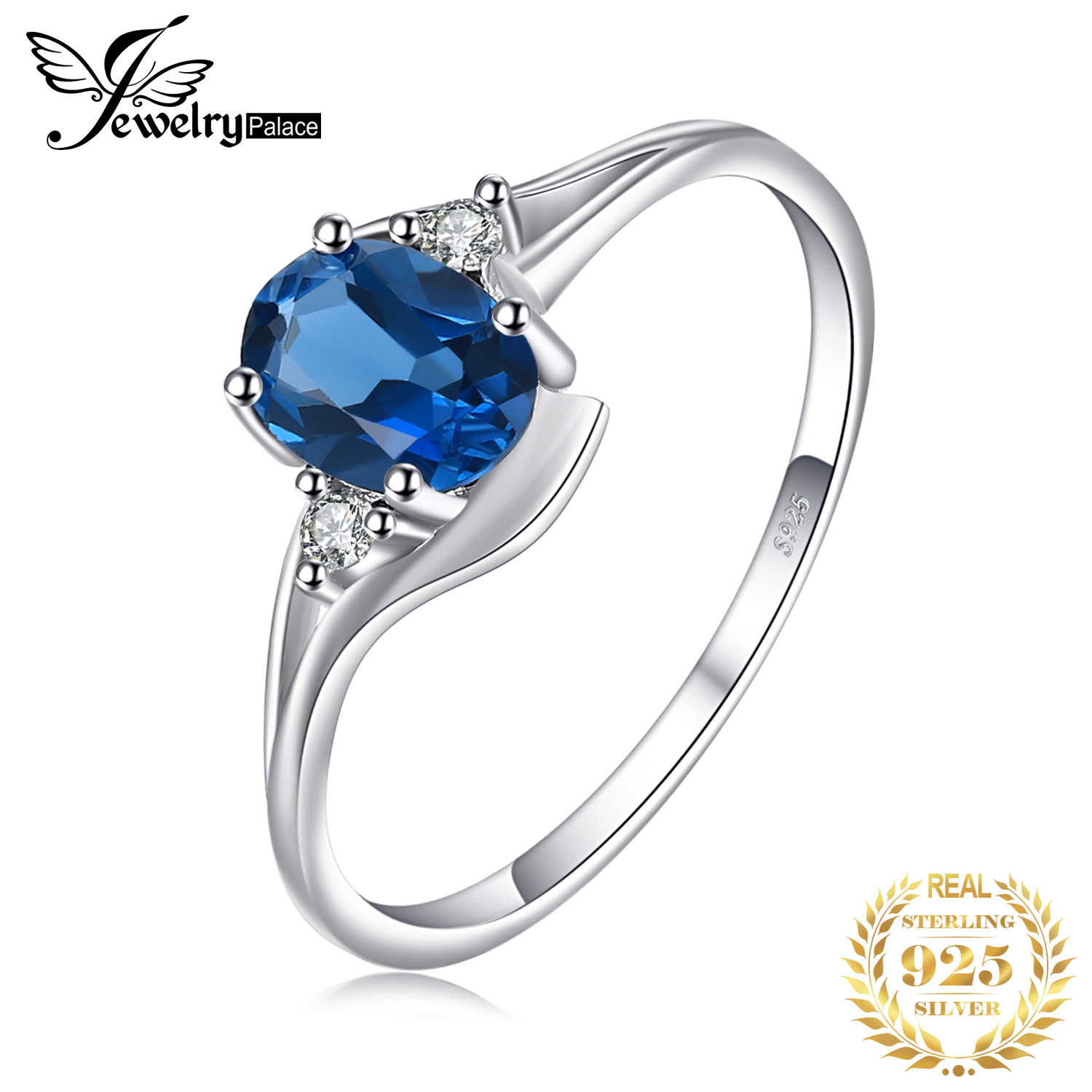 JewelryPalace Genuine London Blue Topaz Ring 925 Sterling Silver Rings for Women Engagement Ring Silver 925 Gemstones Jewelry