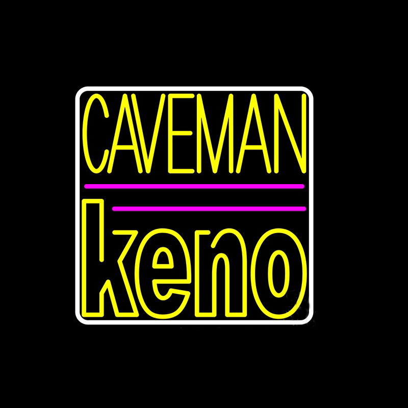 Caveman Keno Neon Sign Handmade Real Glass Tube Bar Store Shop Game Room Advertisement Decoration Display Neon Signs 24X24 image