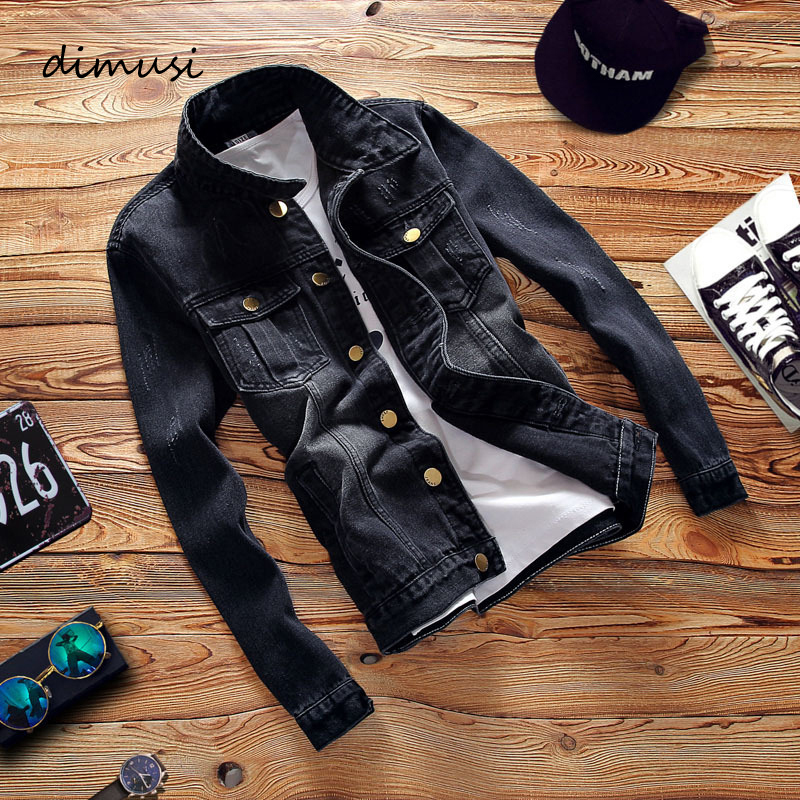 DIMUSI Spring Autumn Men's Denim Jacket Mens Trendy Fashion Bomber Thin Ripped Denim Jacket Male Cowboy Jeans Jackets Clothing