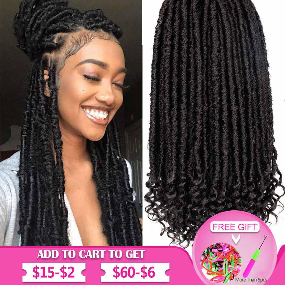 Göttin Faux Loks Häkeln Haar Gerade Göttin Loks mit Lockige Enden Synthetische Häkeln Haar Zöpfe für Schwarze Frauen Smart Braid