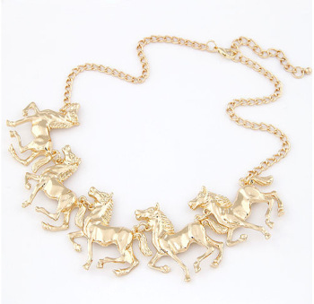 Exaggeration Ornaments Fine Horse Pentium Necklace Clavicle Chain Ornaments image