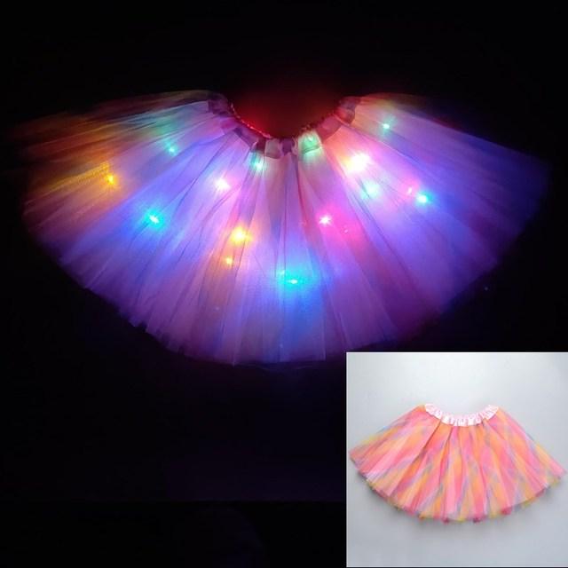 2020 new year Gradation Light LED Kids Coloured lights Tutu Skirt Princess Party Tutus Tulle  Child Ballet Dance skirt Rainbow 6