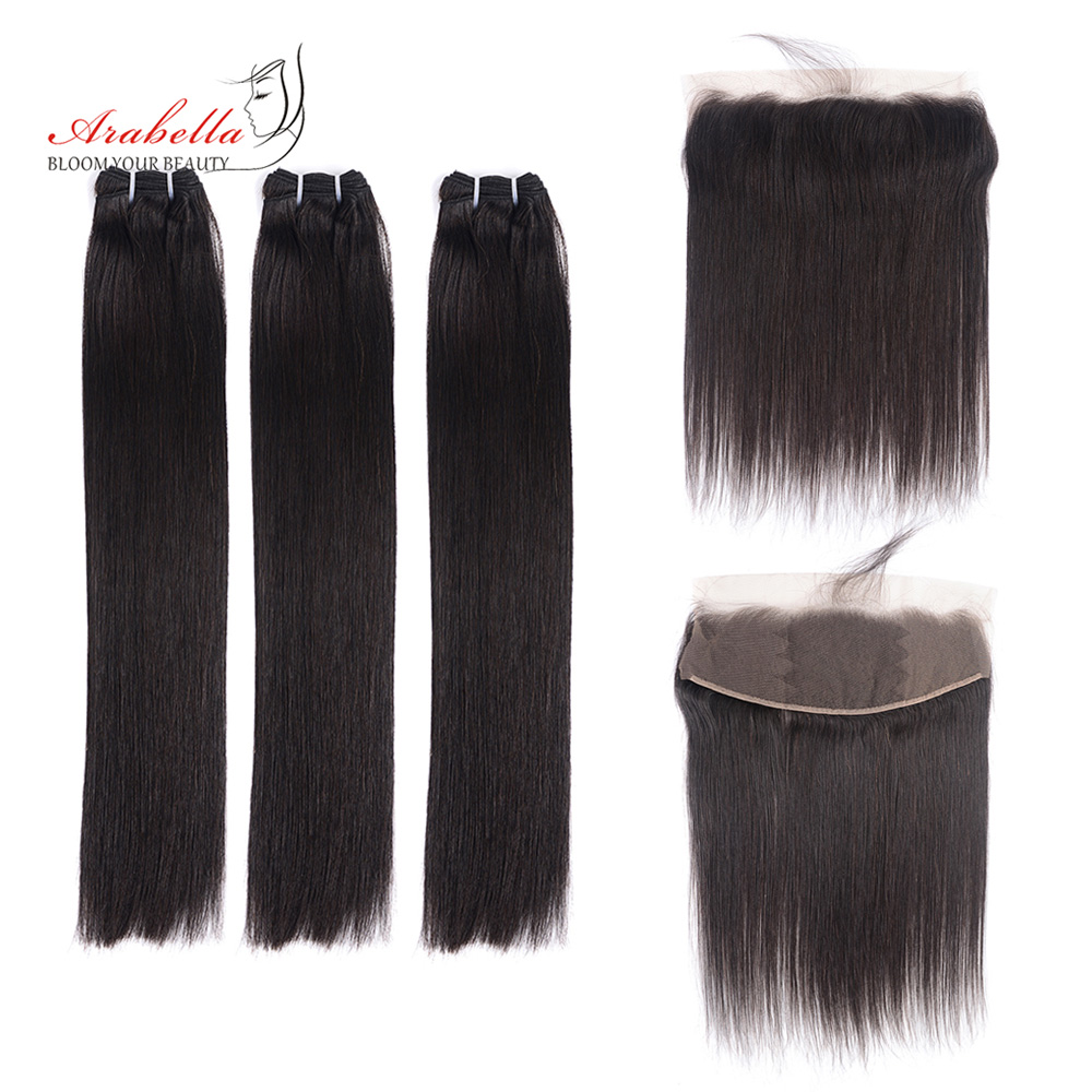 Super Double Drawn Straight Hair Bundles With 13*4 Lace Frontal Arabella Vrigin Hair 100%   Bundles 1