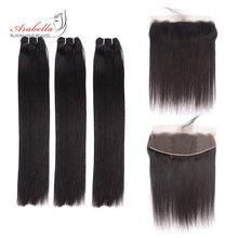 Super duplo desenhado pacotes de cabelo reto com 13*4 rendas frontal arabella vrigin cabelo cor natural 100% feixes tecer cabelo humano