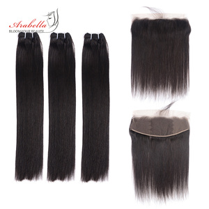Brazilian Super Double Drawn Straight Hair Bundles With 13*4 Lace Frontal Arabella Vrigin Hair 100% Human Hair Weave Bundles