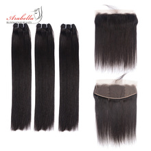 Hair-Bundles Frontal Virgin-Hair Arabella Straight Double-Drawn Lace Transparent Super