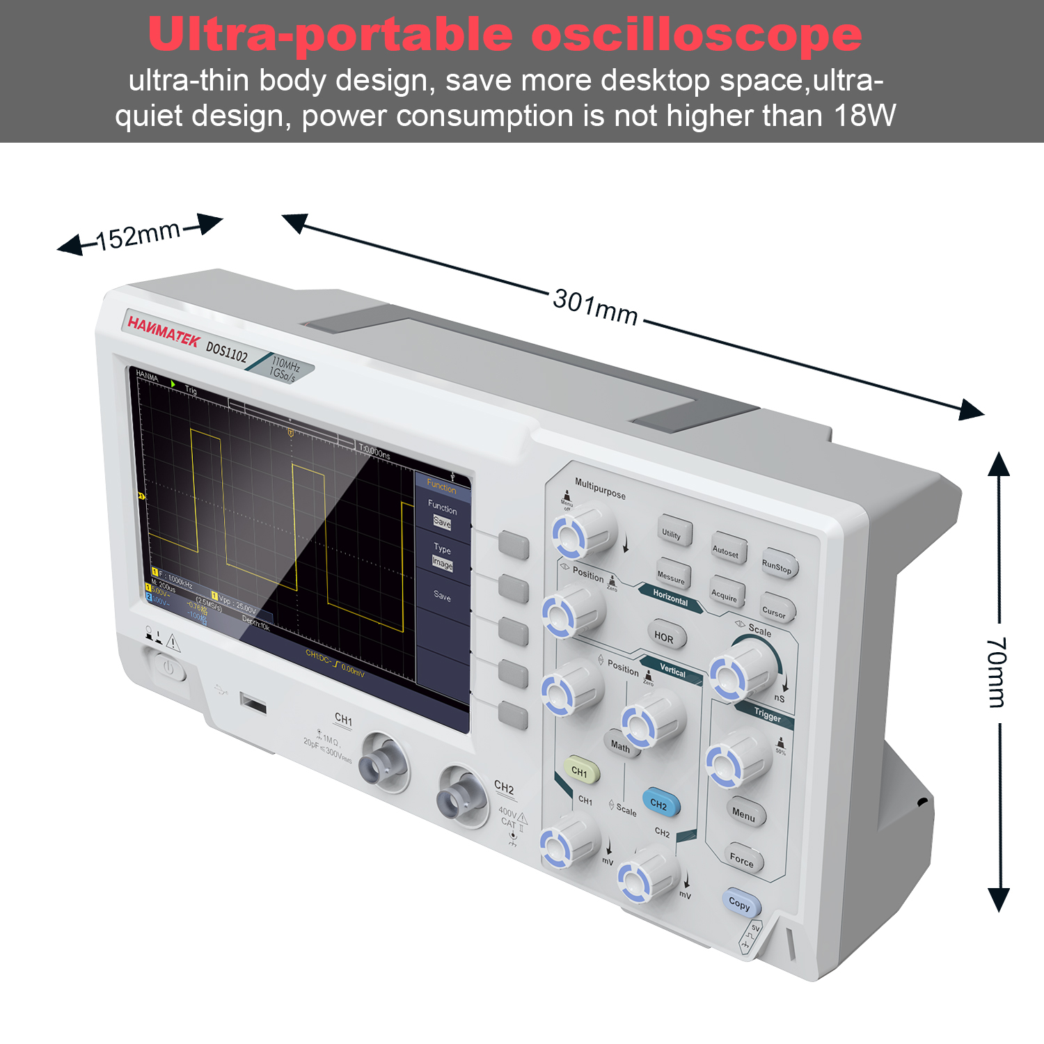 DOS1102 Digital Oscilloscope with 100mhz Bandwidth and 7 inch TFT LCD Screen