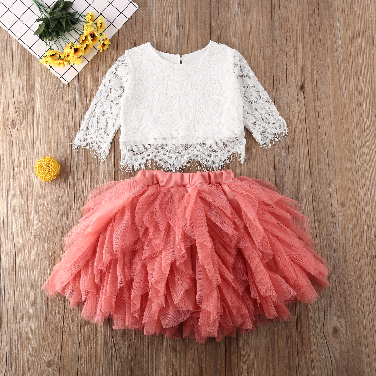 Pudcoco Toddler Baby Girl Clothes Solid Color Lace Flower Ruffle Tops Tulle Ruffle Skirt 2Pcs Outfits Cotton Clothes