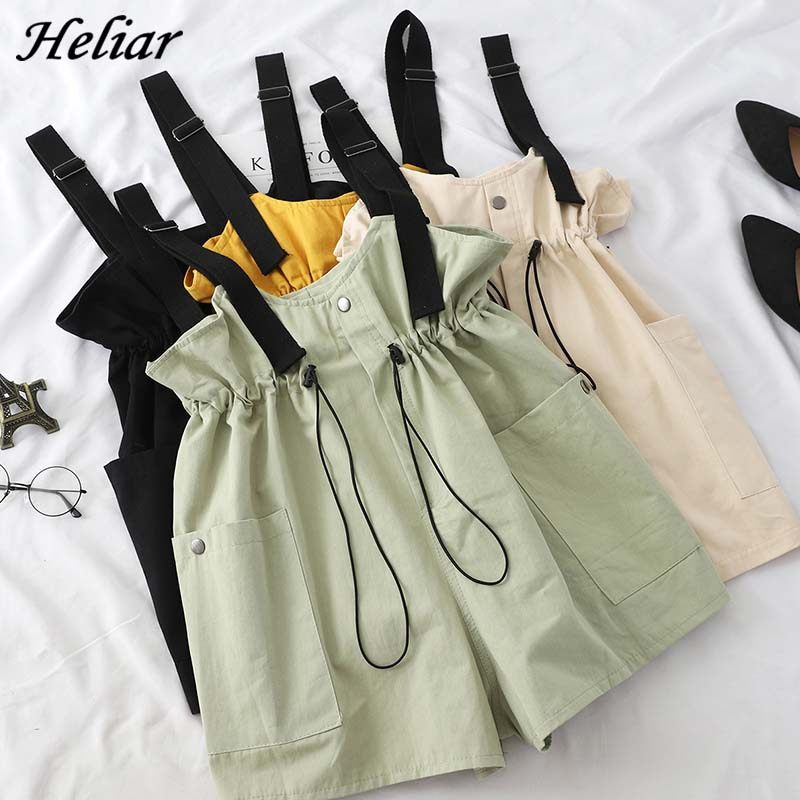 HELIAR Overalls Female Rompers Adjustable Drawstring Playsuits Button Rompers Elastic Waist Lady 2019 Summer Fashion Playsuits