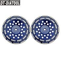 DT-DIATOOL 2 pcs/pk 5/8-11 Draad Dia180mm/7 inch Diamond Dubbele Rij Slijpen Cup Wiel Voor beton Harde Steen Graniet Marmer