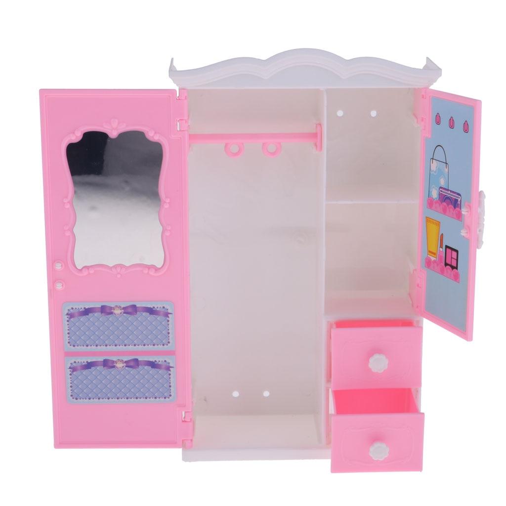 Modelos de armário para bonecas, artesanal, brinquedo, miniatura, alta capacidade, armário, casa, mobília, decoração, cor aleatória