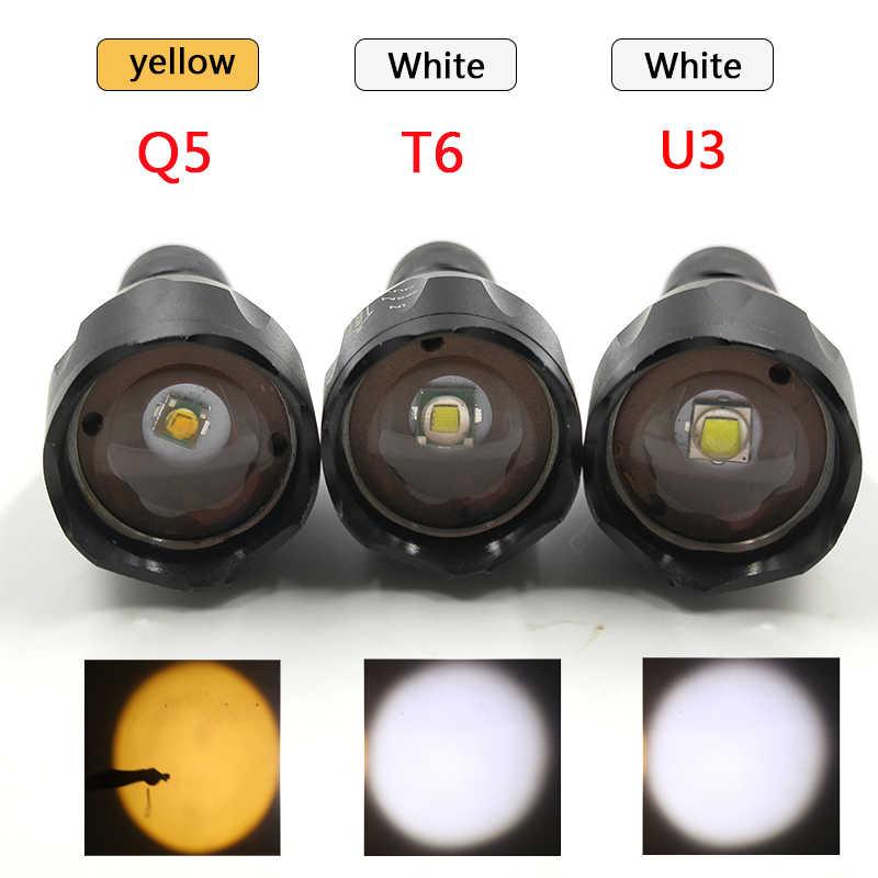 Su geçirmez LED el feneri taşınabilir Torch 5 Emittings renk beyaz sarı yeşil kırmızı ışıklar kendini savunma taktik el feneri