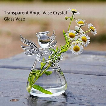 Crystal Glass Angel Shape Flower Vase Transparent Arrangement Hydroponic Container Home Decoration Wedding Decor 1