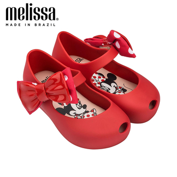Mini Melissa Ultragirl + Minnie II Bow Girl Jelly Shoes Sandals Summer Shoes Mickey Melissa Sandals Kids Sandals Girls Toddler melissa girls sandals big bow parent child shoes women jelly sandals 2019 new women melissa sandals melissa jelly shoes non slip