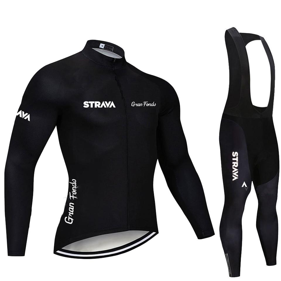 2020 STRAVA Pro équipe à manches longues cyclisme Jersey ensemble bavoir pantalon Ropa Ciclismo vélo vêtements vtt vélo maillot uniforme hommes vêtements