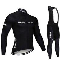 2020 STRAVA Pro Team Long Sleeve Cycling Jersey Set Bib Pants Ropa Ciclismo Bicycle Clothing MTB Bike Jersey Uniform Men Clothes