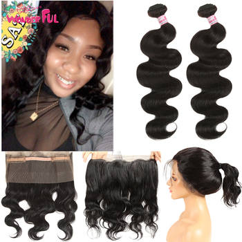 360 Frontal With Bundles Body Wave 100% Remy Peruvian Human Hair Weft Weave 360 Lace Frontal With Bundle Baby Hair image