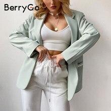 Blazer Women Coat Berrygo-Button Pocket Green-Suit Pearl Long-Sleeve Office Elegant Mint
