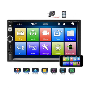 12V Car Multimedia Player 7 HD Touch Screen Car Player Universal 7010B Wince System with 4/8/12 LED Camera Frame MP5 Bluetooth image